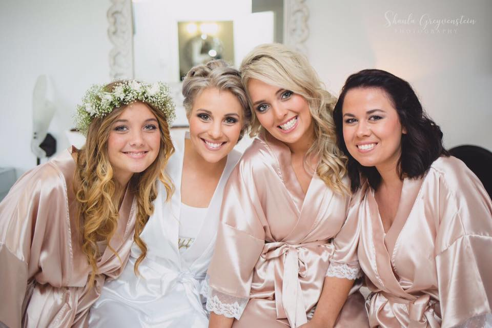 Bridal Party Dressing Gowns in satin and lace for your wedding photos